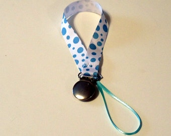 Pacifier Clip Pacifier Holder Blue Dotted Ribbon