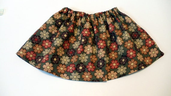 Baby Tutu Fabric Skirt Green Fall Flowers
