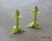 Vibrant Green Candlestick Holders