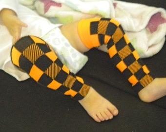 Halloween Baby Legwarmers Black and Orange Checkers