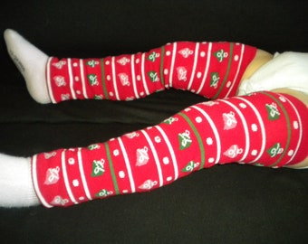 Baby Legwarmers Red with Ornaments Christmas/Holiday