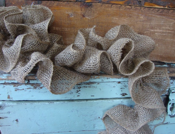 RESERVED for JO ANN Rustic Handmade Burlap Ruffle Ribbon Trim