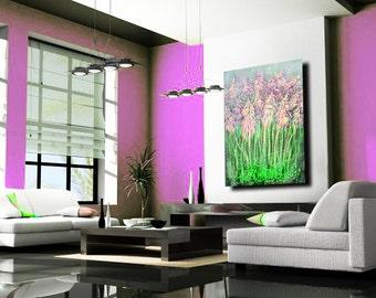 Art abstract acrylic original painting on canvas  Summer Garden Flowers 36''x24''