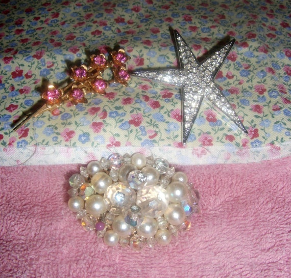 Vintage Brooch Pins Set of Three Completely Different Style Rhinestone Star Pearl Brooch and Pink floral Only 6 USD
