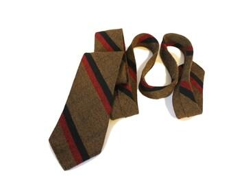 Vintage Botany 100% Wool Necktie Brown Striped Skinny Tie 1940s