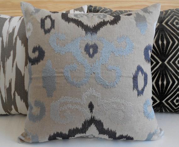 Silver Blue Decorative Pillows : Ikat decorative pillow cover gray silver blue by pillowflightpdx