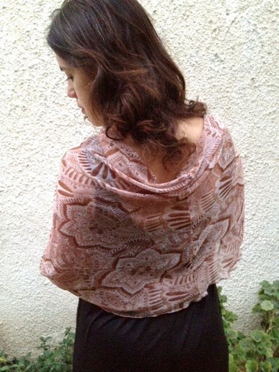 Terra cotta paisly shawl , 4 options top, pink-brown vintage inspired shawl. ready to ship