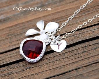 Personalized Orchid Ruby Necklace, Ruby Glass Drop, Handstamped Sterling Silver Heart Initial, Wedding Jewelry, Birthday Gift