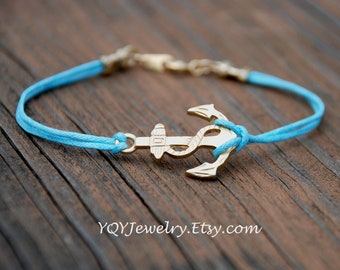 Gold Anchor Waxed Linen Bracelet, Summer jewely, Beach Jewelry, Birthday Gift