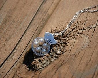 Lovely Mom Bird And Baby Eggs In Nest Sterling Silver Necklace (5 eggs)
