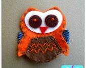 Owl Felt Hair Clip- Baby Hair Clip- Baby Girl Hair Clip with Gripper Toddler Hair Clip Orange
