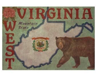 WEST VIRGINIA 1F- Handmade Leather Wall Hanging - Travel Art