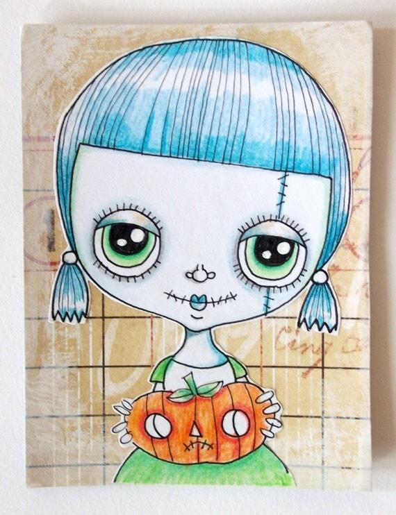 Aceo Original Art Halloween