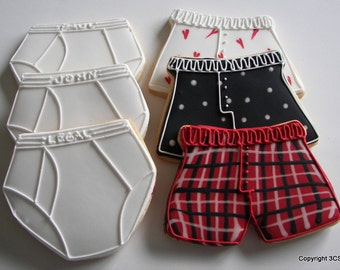 Boxers or Briefs-What kinda guy is he:  Hand decorated briefs and boxers sugar cookies (#2338)