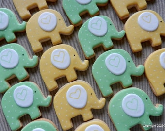 Large Elephant cookies for Birthday Parties or Baby showers (#2383)