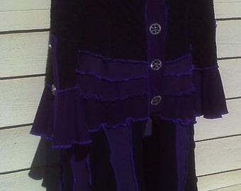 Custom designed Steampunk upcycled sweater coat