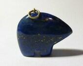 Vintage Abstract Lapis Rino Charm Blue Glass Rino Charm
