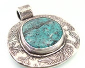 ON SALE, Fine Silver, Turquoise Pendant, Turquoise Jewelry, Turquoise Necklace, Silver Turquoise Pendant, Flower Pendant, Turquoise, 611