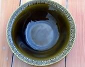 Irish Connemara Celtic Large Earthenware Dark Green Bowl