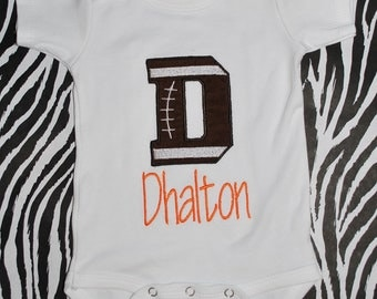 Monogrammed T-Shirt or Onesie Football Letter(s) Boy (personalized appliqued) orange letter - Baby football Onesie - Baby Shower Gift