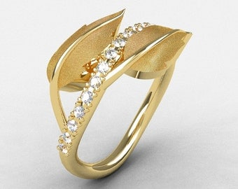 Natures Nouveau 14K Yellow Gold White Sapphire Leaf and Vine Wedding Ring, Engagement Ring NN113S-14KYGWS