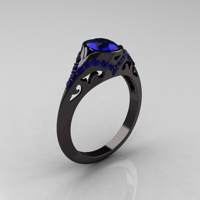 Classic 14K Black Gold Oval Blue Sapphire Wedding Ring
