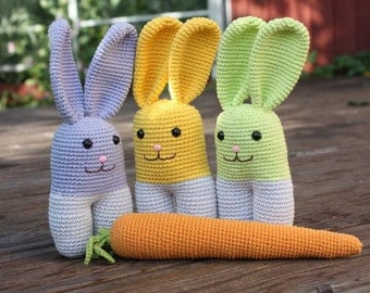 2 PATTERNS: Amigurumi Patterns- Cuddly Bunny and Carrot Patterns - Digital Download - In English