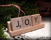 JOY Repurposed Wooden Scrabble Tile Rustic Farm Christmas Holiday Tree Ornament