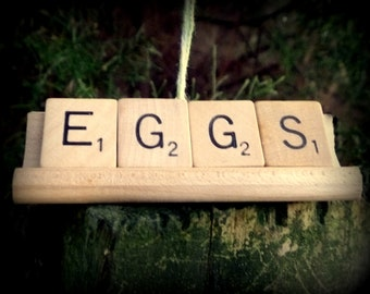 EGGS Repurposed Wooden Scrabble Tile Rustic Farm Chicken Hen Christmas Holiday Tree Ornament