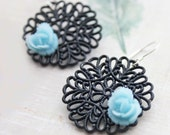 Blue Rose Black Filigree Earrings. Floral Jewelry. Fall. Autumn. Boho. Bohemian.  Fashion.Sterling Silver. Gift for her. Holidays.