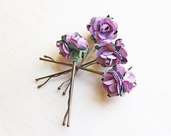 Purple Roses Bouquet Hair Pins. Hair Clip. Paper Flowers, Woodland. Rustic, Wedding. Whimsical. Light Eggplant, Romantic. Spring