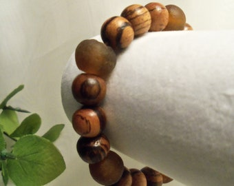 Sale- One of a Kind Unique HandCrafted Men's Women's Wood & Recycled African Glass Beads Stretch Bracelet- Birthday Gift Him Her Boyfriend