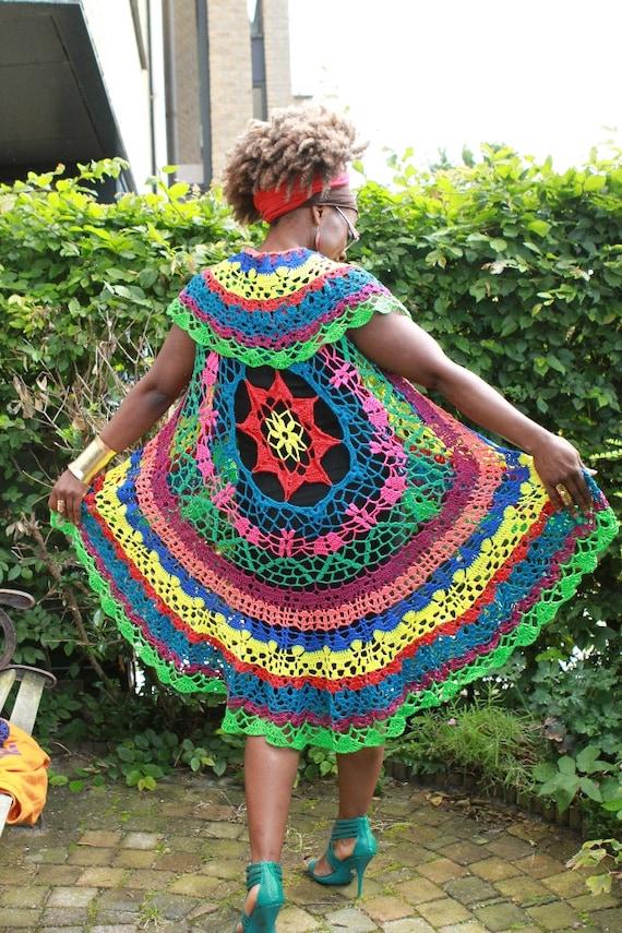 Crochet gaucho / poncho Colourful cotton yarn handmade ooak : Rainbow Delight