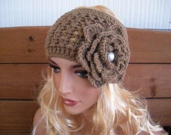 Crochet Headband Womens Headband Winter Fashion Accessories Women  Ear warmer Wide Headscarf in Light Brown with Crochet Flower