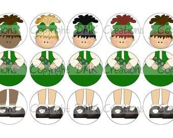 Build A Scout - GREEN Set 2  - Ornament Bottle Cap Images 4x6 Printable Bottlecap Collage INSTANT DOWNLOAD