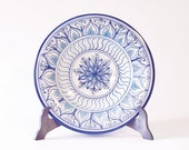 Handmade  Decorative Plate with White and Blue Geometric Design