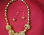 Big n Bold Gold Goddess Necklace Earrings, open-weave gold beads, Bring on the bling in a big way