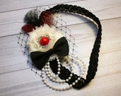 Vintage, flapper-style red, ivory, and black bow, headband, hair clip, infant, toddler, girl, adult, photography prop