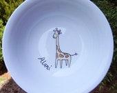 Giraffe personalized hand painted porcelain bowl - nursery art - gift for girl