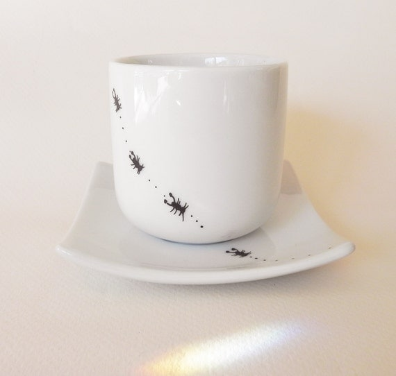 Ants, hand painted white porcelain espresso coffee set with cup and saucer funny gift