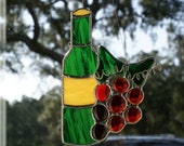 Wine Bottle with Label and Red Grape Cluster in Stained Glass - Authentic Stained Glass - Original Design
