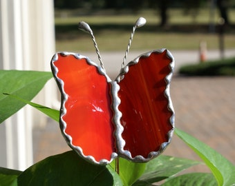 Red Swirled Opalesent Butterfly - Stained Glass -  Garden/Potted Plant Stake - Scalloped Decorative Foil Border