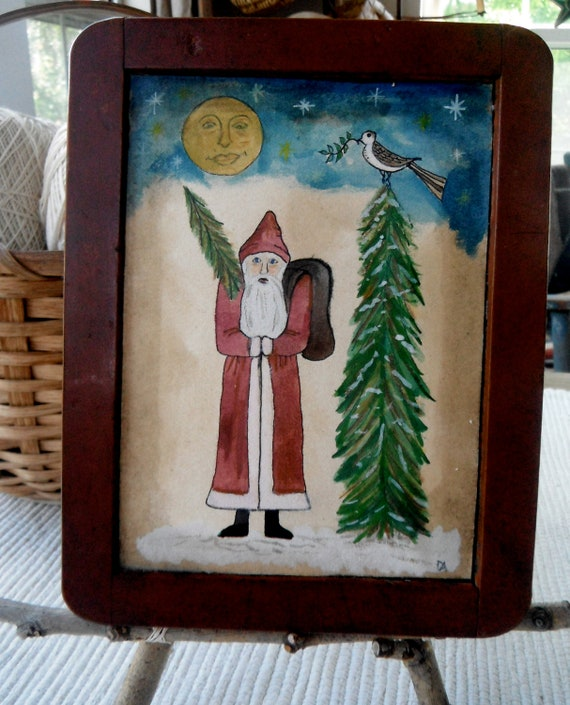 Primitive painting of Father Christmas on an Antique Slate