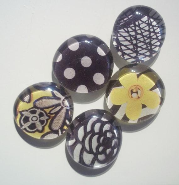 50% Off - 5 Piece Glass Magnet Set - Fridge Glass Magnets - Black White Yellow Flower - Polka Dot - Glass Gem Magnets - Round Magnets