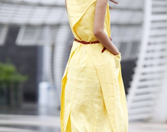 Summer dress  Loose fitting Long Sundress Maxi Dress in Yellow - NC306