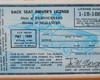 Kitsch Comic Postcard, Vintage Back Seat Drivers License, Chrome Unused Post Card