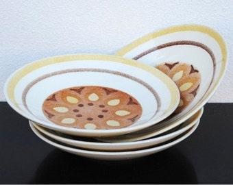 Taylor Smith Taylor China Bowls, Retro Yellow Star Pop Art Mid Century Vintage Dinnerware, Set of Four (4)