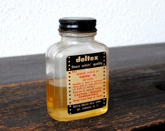 "Vintage Supply Art Artist Turpentine Bottle, Labeled Industrial Glass NOS ""Deltex"" Delta Brush Co Original Label, 1950s Mt Vernon NY"