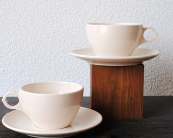 Mod Coffee Cup Set, Two White Cream Cups & Saucers Melamine Dishes, Roymac Melmac