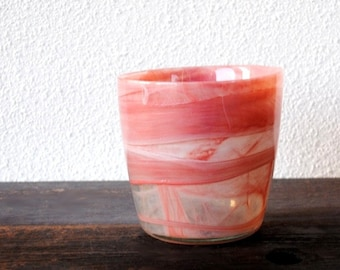 Mid Century Modern Art Glass Pink Vase, Free Form Swirl Abstract Flower Pot